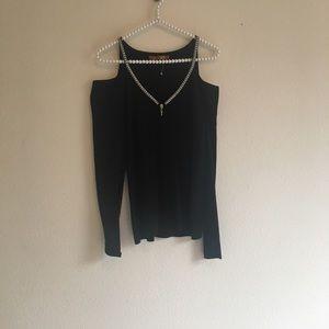 Black Cold Shoulder Rhinestones Sweater